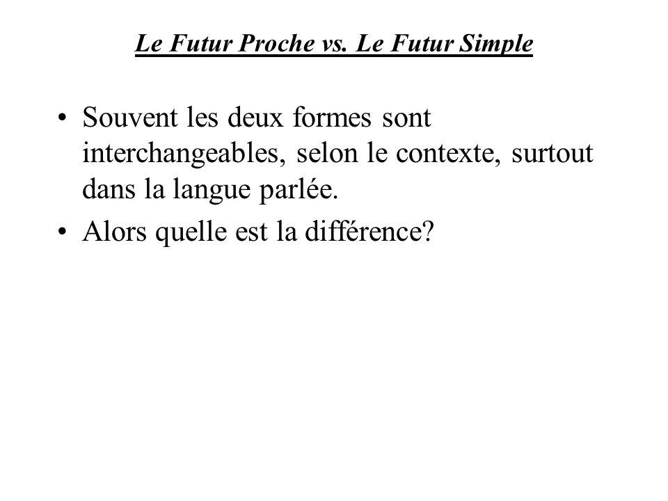 Le Futur Proche vs. Le Futur Simple Souvent les deux formes sont interchangeables, selon le contexte, surtout dans la langue parlée. Alors quelle est
