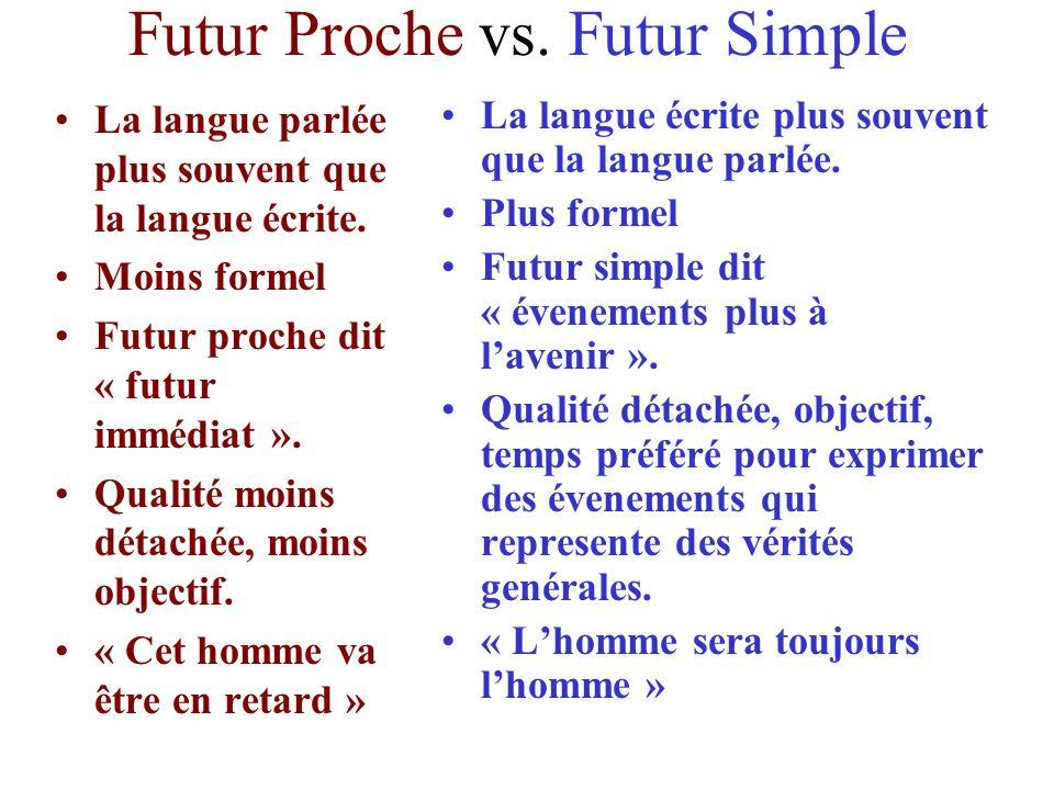 Futur Proche vs. Futur Simple La langue parlée plus souvent que la langue écrite. Moins formel Futur proche dit « futur immédiat ». Qualité moins déta