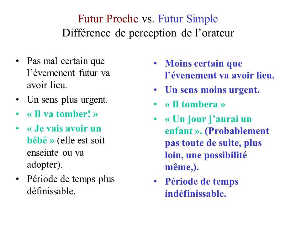 Futur Proche vs. Futur Simple Différence de perception de lorateur Pas mal certain que lévemenent futur va avoir lieu. Un sens plus urgent. « Il va to