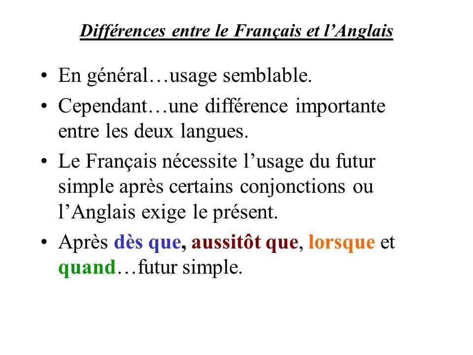 Différences entre le Français et lAnglais En général…usage semblable. Cependant…une différence importante entre les deux langues. Le Français nécessit
