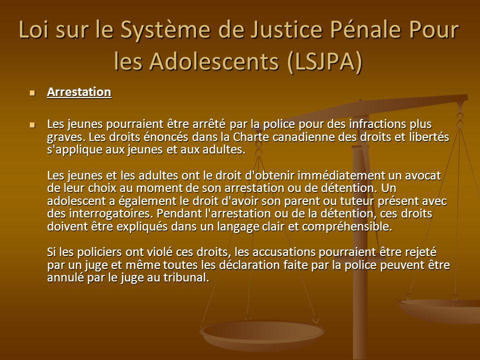 Arrestation Arrestation Les jeunes pourraient être arrêté par la police pour des infractions plus graves. Les droits énoncés dans la Charte canadienne