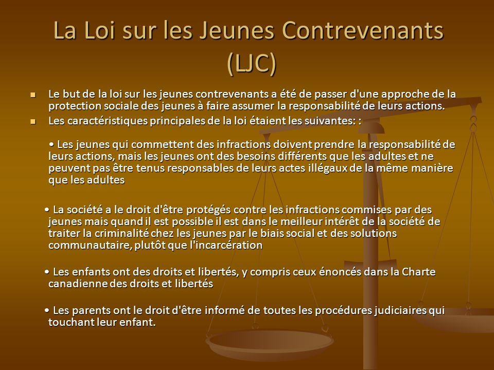 La Loi sur les Jeunes Contrevenants (LJC) Le but de la loi sur les jeunes contrevenants a été de passer d une approche de la protection sociale des jeunes à faire assumer la responsabilité de leurs actions.