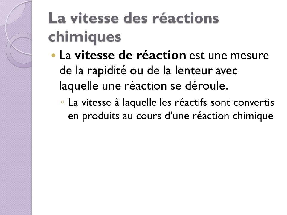 La vitesse des réactions chimiques La vitesse de réaction est une mesure de la rapidité ou de la lenteur avec laquelle une réaction se déroule. La vit