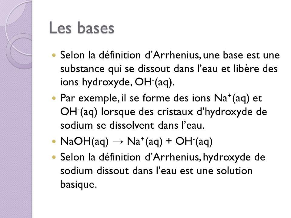 Les bases Selon la définition dArrhenius, une base est une substance qui se dissout dans leau et libère des ions hydroxyde, OH - (aq). Par exemple, il