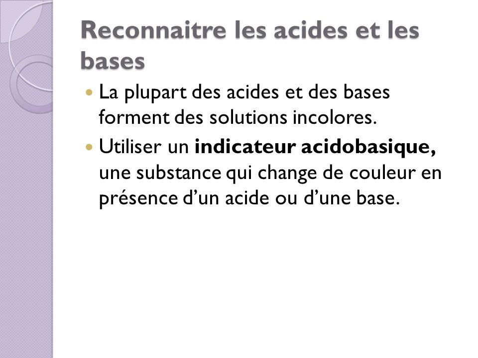 Reconnaitre les acides et les bases La plupart des acides et des bases forment des solutions incolores. Utiliser un indicateur acidobasique, une subst
