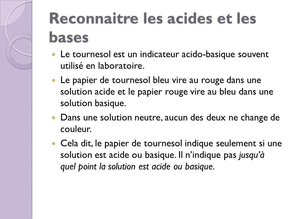 Reconnaitre les acides et les bases Le tournesol est un indicateur acido-basique souvent utilisé en laboratoire. Le papier de tournesol bleu vire au r