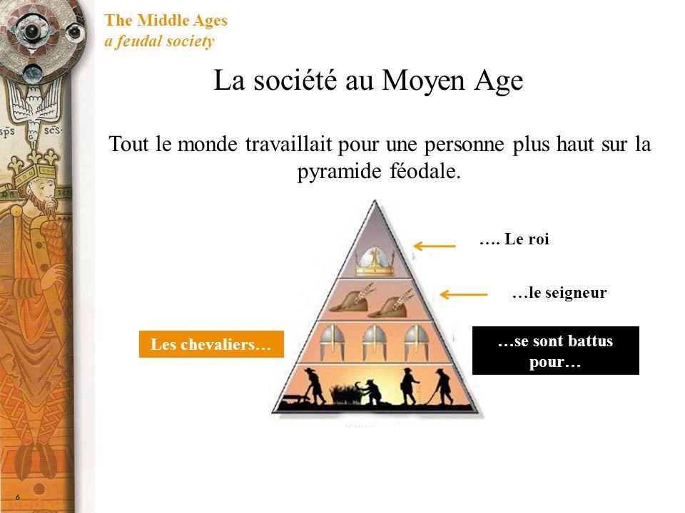 The Middle Ages a feudal society La société au Moyen Age Tout le monde travaillait pour une personne plus haut sur la pyramide féodale. Les chevaliers