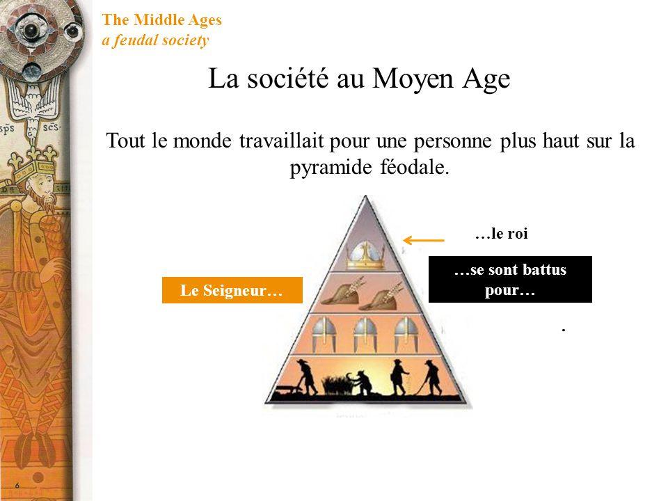 The Middle Ages a feudal society Le Seigneur…. …le roi La société au Moyen Age Tout le monde travaillait pour une personne plus haut sur la pyramide f