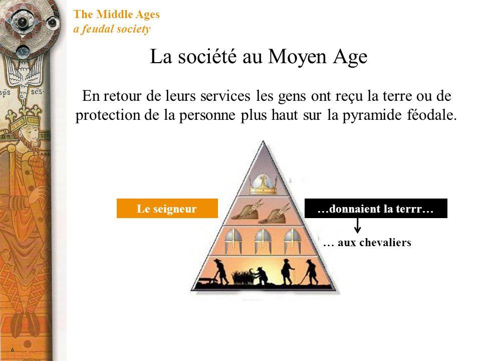 The Middle Ages a feudal society … aux chevaliers …donnaient la terrr…Le seigneur La société au Moyen Age En retour de leurs services les gens ont reçu la terre ou de protection de la personne plus haut sur la pyramide féodale.