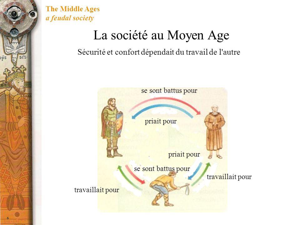 The Middle Ages a feudal society Sécurité et confort dépendait du travail de l'autre se sont battus pour priait pour travaillait pour La société au Mo