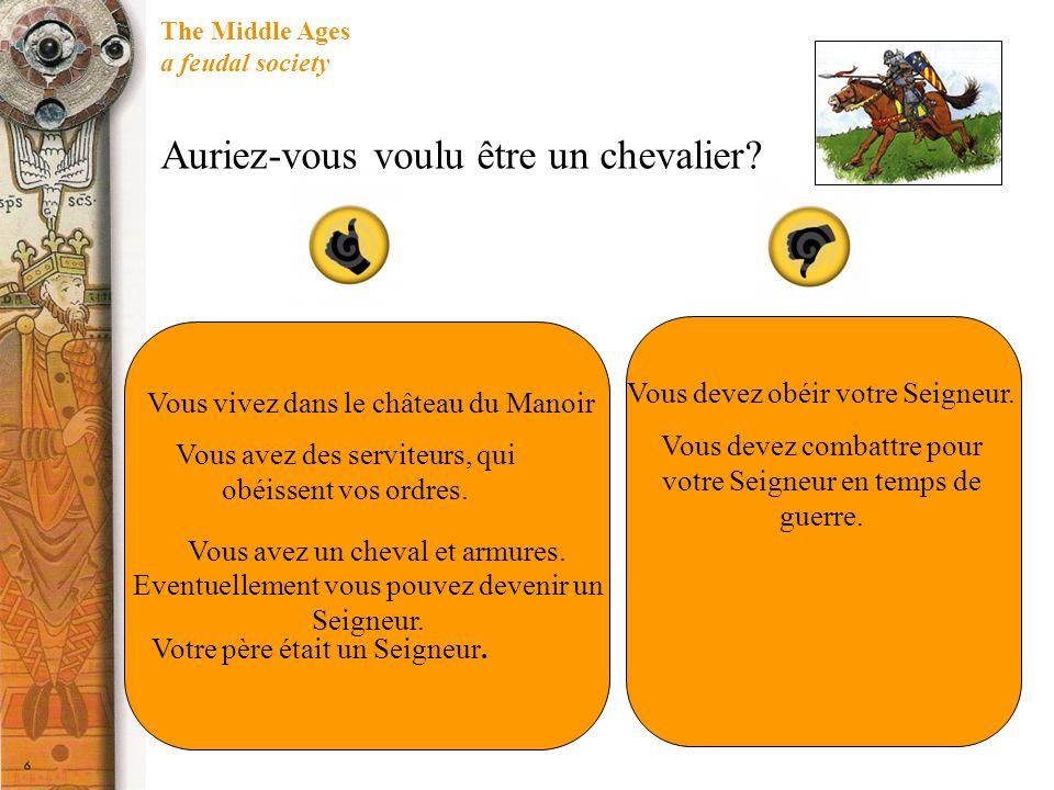 The Middle Ages a feudal society Auriez-vous voulu être un chevalier? Vous vivez dans le château du Manoir Vous avez des serviteurs, qui obéissent vos