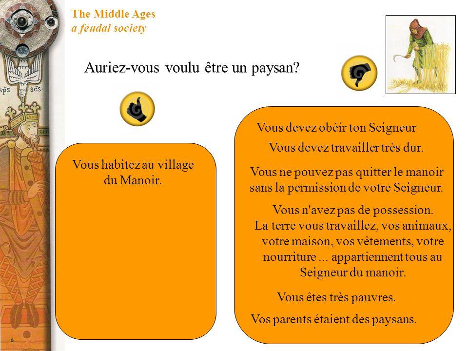 The Middle Ages a feudal society Auriez-vous voulu être un paysan? Vous habitez au village du Manoir. Vous devez obéir ton Seigneur Vous devez travail