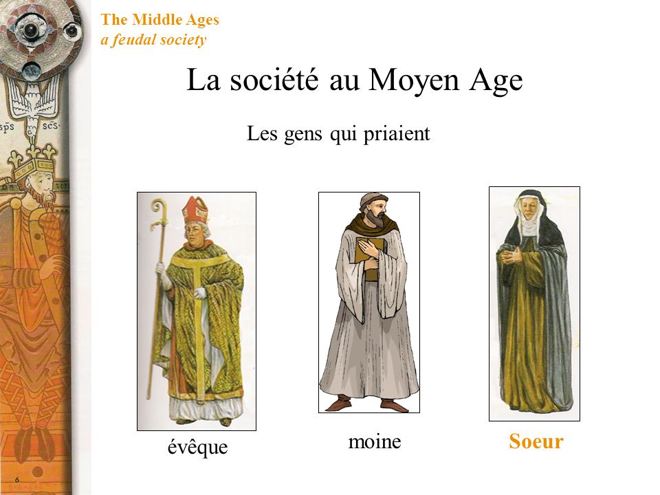 The Middle Ages a feudal society Si un noble ou un chevalier a été donné un peu de terre, il est devenu le Seigneur d un manoir.