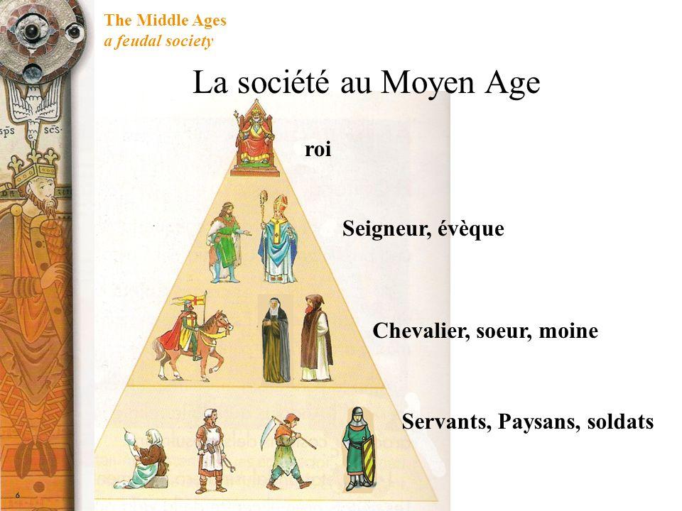 The Middle Ages a feudal society La société au Moyen Age La société médiévale a été organisée dans un arbre féodal ou système pyramidal.