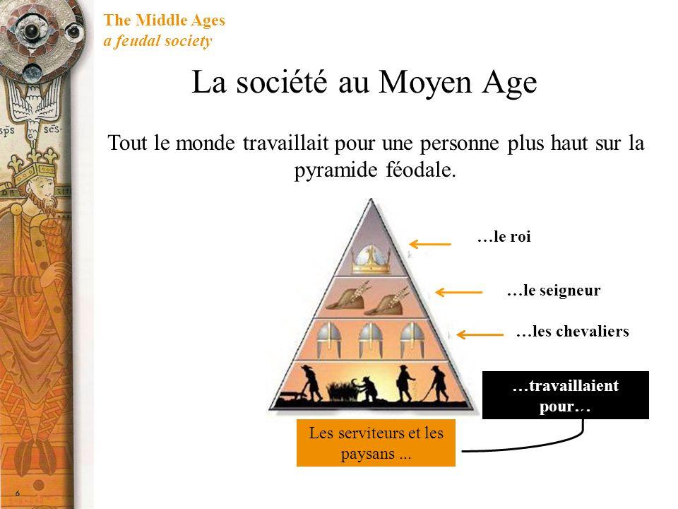 The Middle Ages a feudal society La société au Moyen Age Tout le monde travaillait pour une personne plus haut sur la pyramide féodale. Les serviteurs