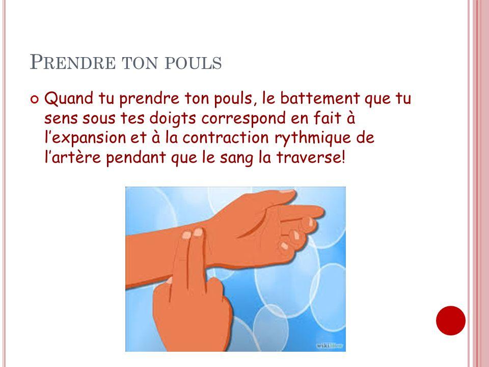 P RENDRE TON POULS Quand tu prendre ton pouls, le battement que tu sens sous tes doigts correspond en fait à lexpansion et à la contraction rythmique