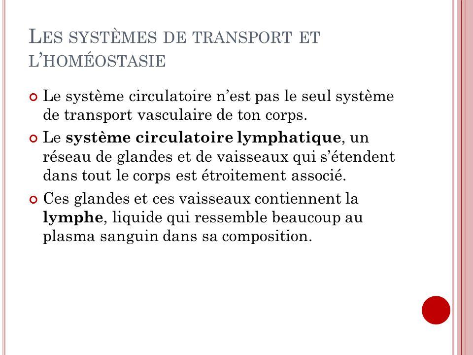 L ES SYSTÈMES DE TRANSPORT ET L HOMÉOSTASIE Le système circulatoire nest pas le seul système de transport vasculaire de ton corps. Le système circulat