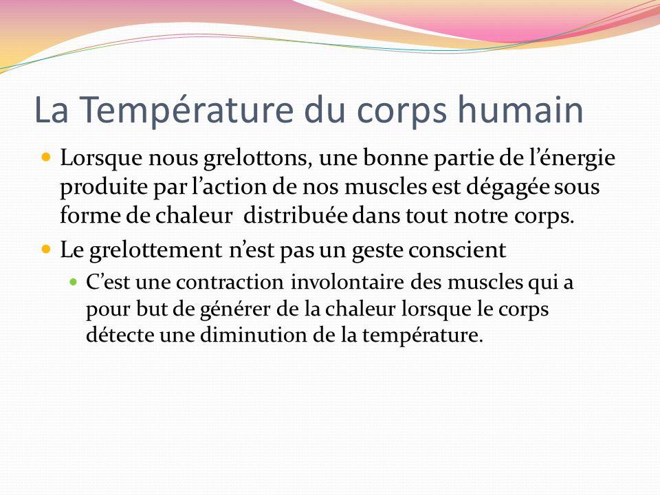 La Température du corps humain Lorsque nous grelottons, une bonne partie de lénergie produite par laction de nos muscles est dégagée sous forme de cha