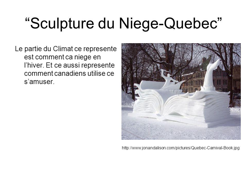 Sculpture du Niege-Quebec Le partie du Climat ce represente est comment ca niege en lhiver. Et ce aussi represente comment canadiens utilise ce samuse