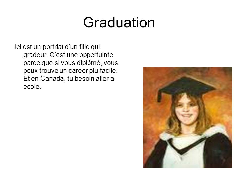Graduation Ici est un portriat dun fille qui gradeur. Cest une oppertuinte parce que si vous diplômé, vous peux trouve un career plu facile. Et en Can