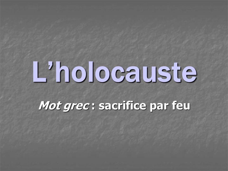 Lholocauste Mot grec : sacrifice par feu