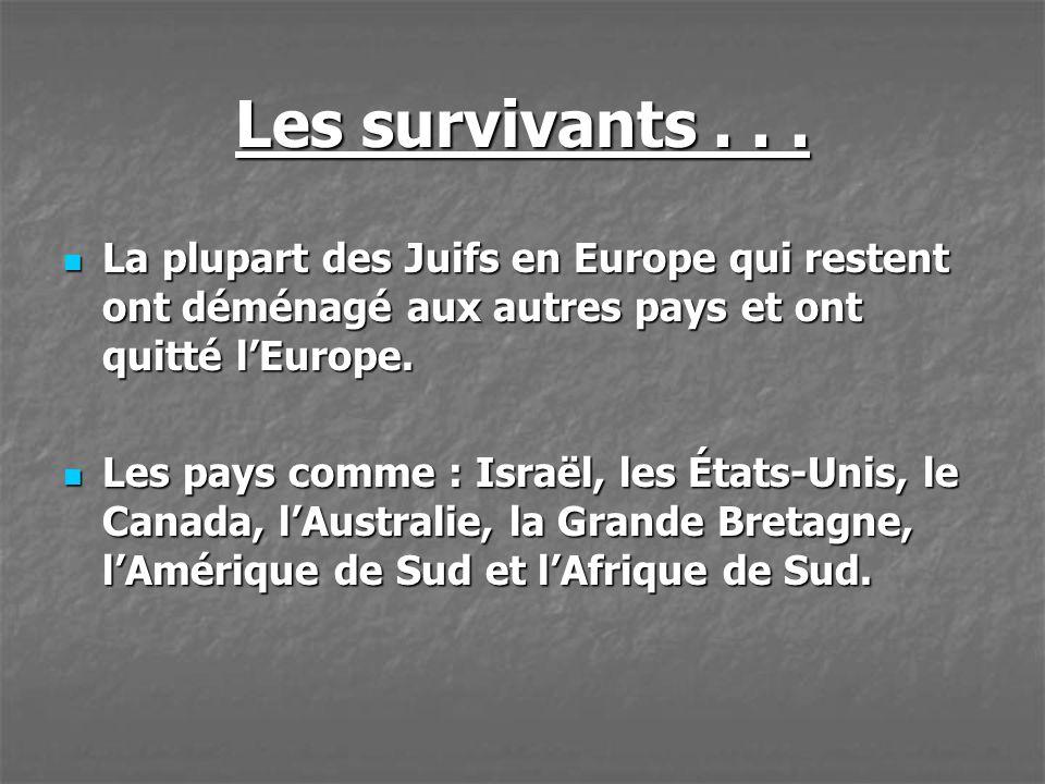 Les survivants... La plupart des Juifs en Europe qui restent ont déménagé aux autres pays et ont quitté lEurope. La plupart des Juifs en Europe qui re