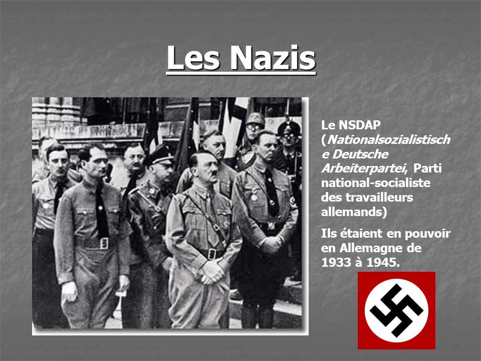 Les Nazis Le NSDAP (Nationalsozialistisch e Deutsche Arbeiterpartei, Parti national-socialiste des travailleurs allemands) Ils étaient en pouvoir en A