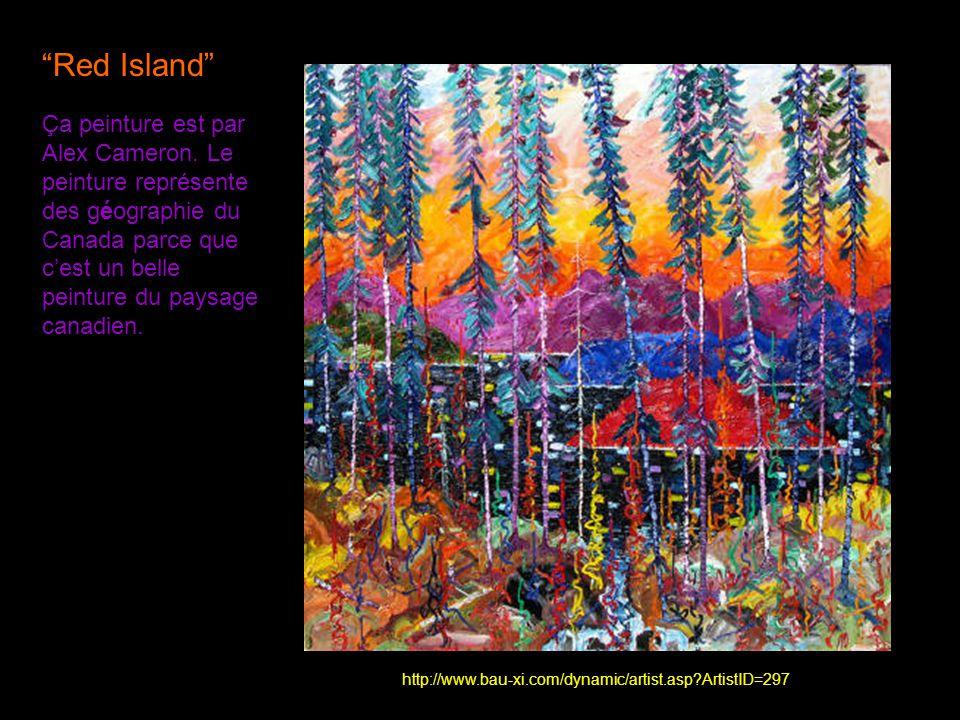 Red Island Ça peinture est par Alex Cameron. Le peinture représente des géographie du Canada parce que cest un belle peinture du paysage canadien. htt