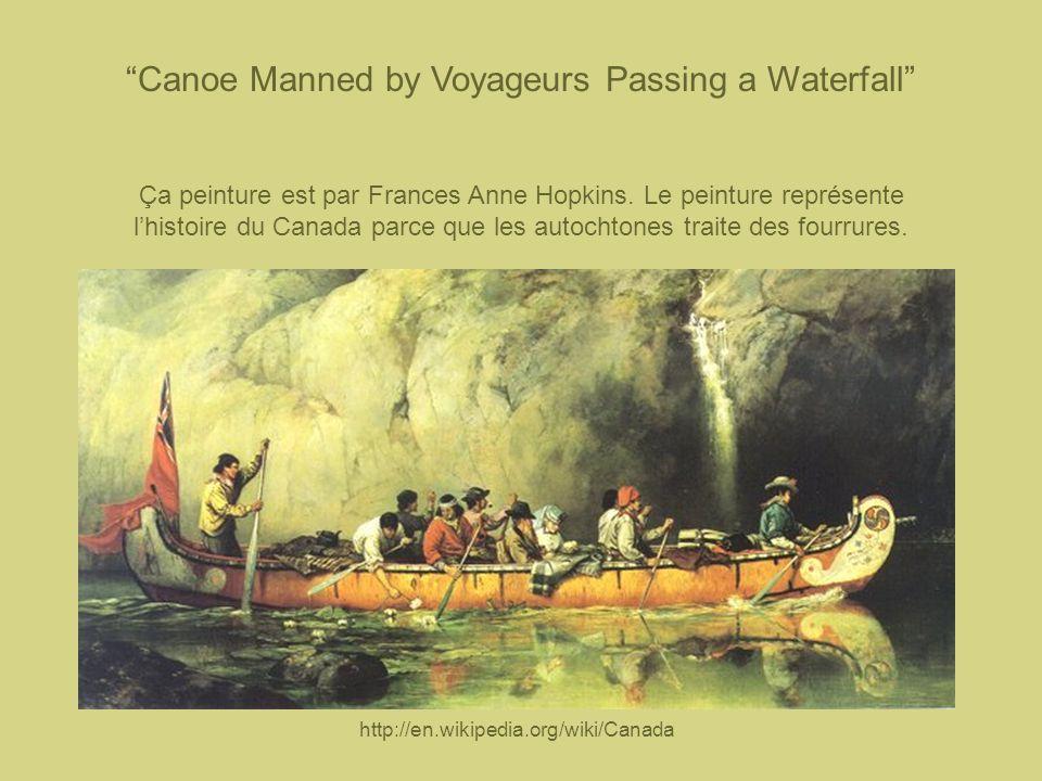 Canoe Manned by Voyageurs Passing a Waterfall Ça peinture est par Frances Anne Hopkins. Le peinture représente lhistoire du Canada parce que les autoc