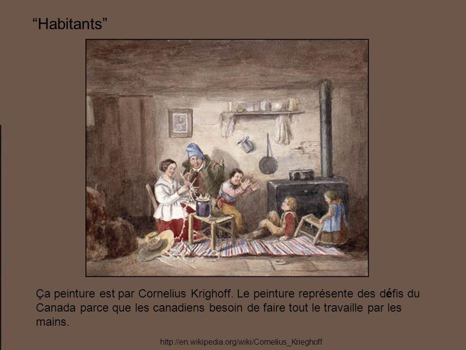 Habitants Ça peinture est par Cornelius Krighoff. Le peinture représente des défis du Canada parce que les canadiens besoin de faire tout le travaille