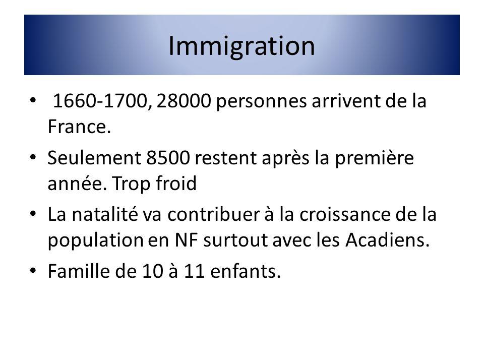 Immigration 1660-1700, 28000 personnes arrivent de la France. Seulement 8500 restent après la première année. Trop froid La natalité va contribuer à l