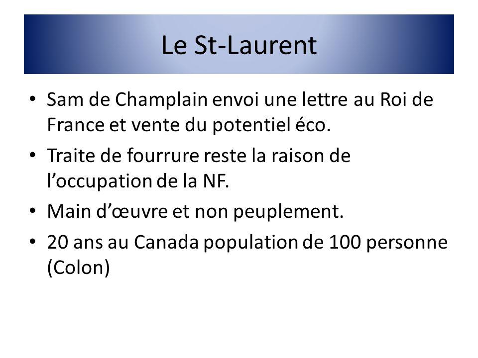 Le St-Laurent Sam de Champlain envoi une lettre au Roi de France et vente du potentiel éco. Traite de fourrure reste la raison de loccupation de la NF