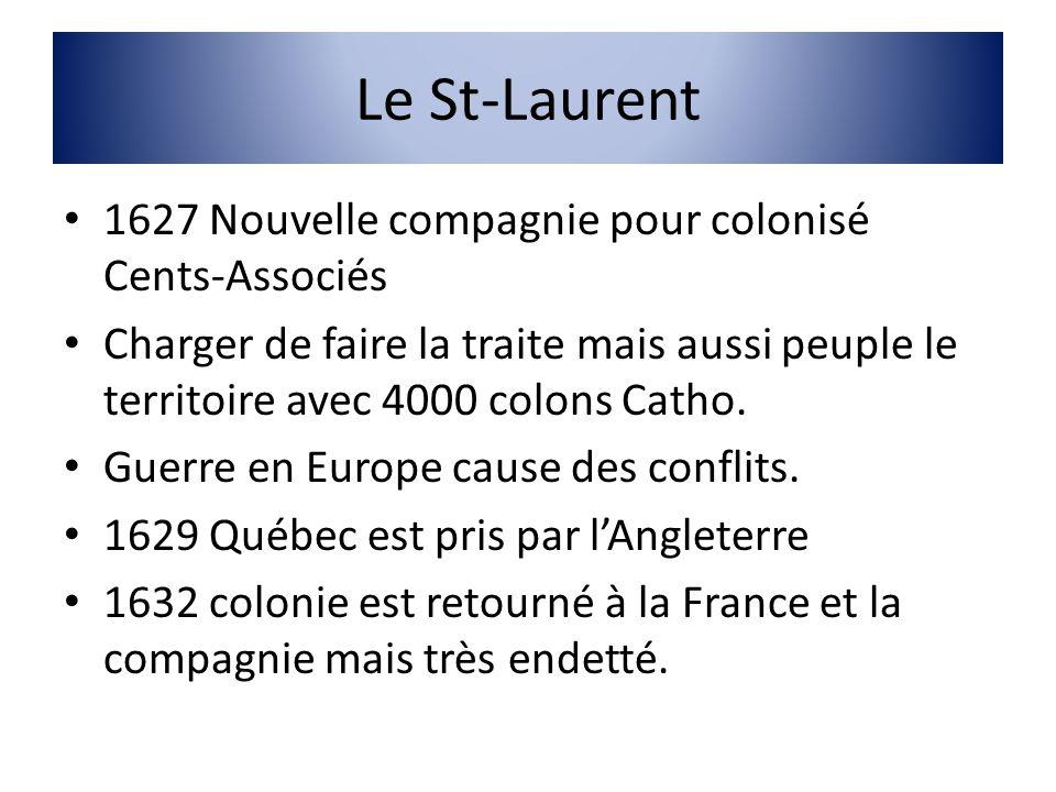 Le St-Laurent 1627 Nouvelle compagnie pour colonisé Cents-Associés Charger de faire la traite mais aussi peuple le territoire avec 4000 colons Catho.