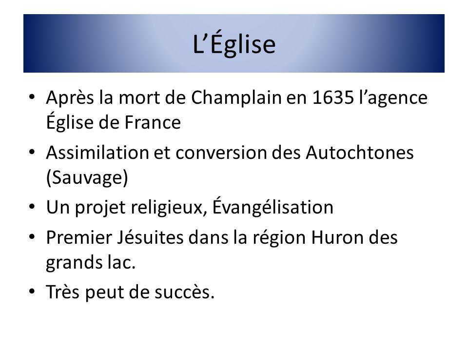 LÉglise Après la mort de Champlain en 1635 lagence Église de France Assimilation et conversion des Autochtones (Sauvage) Un projet religieux, Évangéli