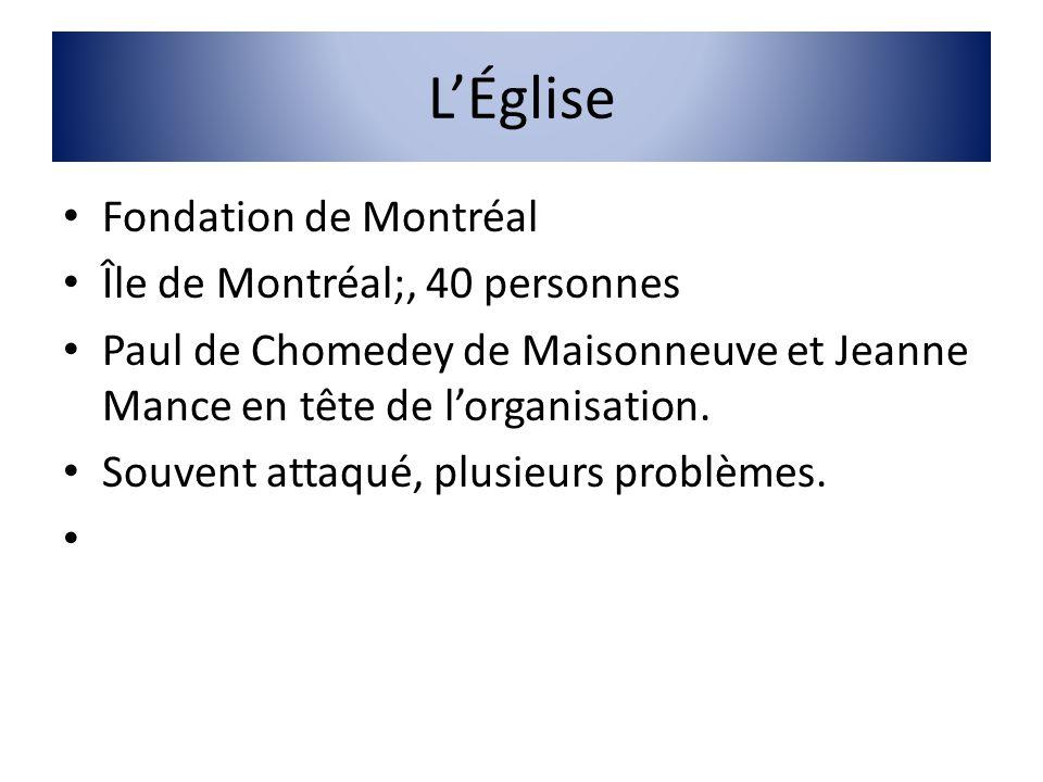 LÉglise Fondation de Montréal Île de Montréal;, 40 personnes Paul de Chomedey de Maisonneuve et Jeanne Mance en tête de lorganisation. Souvent attaqué
