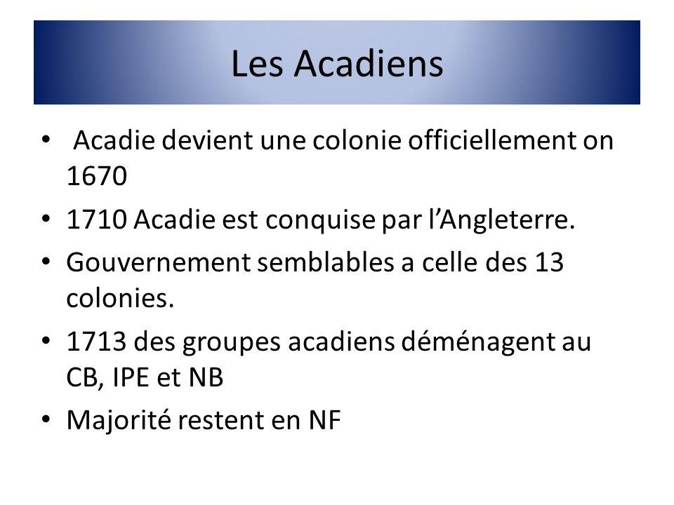 Les Acadiens Acadie devient une colonie officiellement on 1670 1710 Acadie est conquise par lAngleterre. Gouvernement semblables a celle des 13 coloni