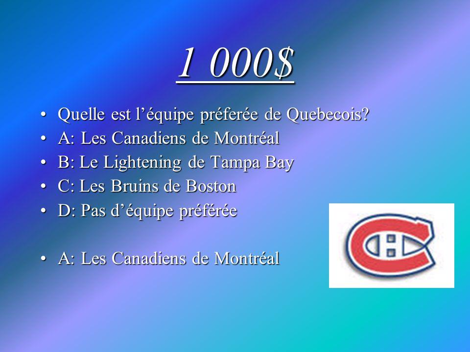 1 000$ Quelle est léquipe préferée de Quebecois?Quelle est léquipe préferée de Quebecois? A: Les Canadiens de MontréalA: Les Canadiens de Montréal B: