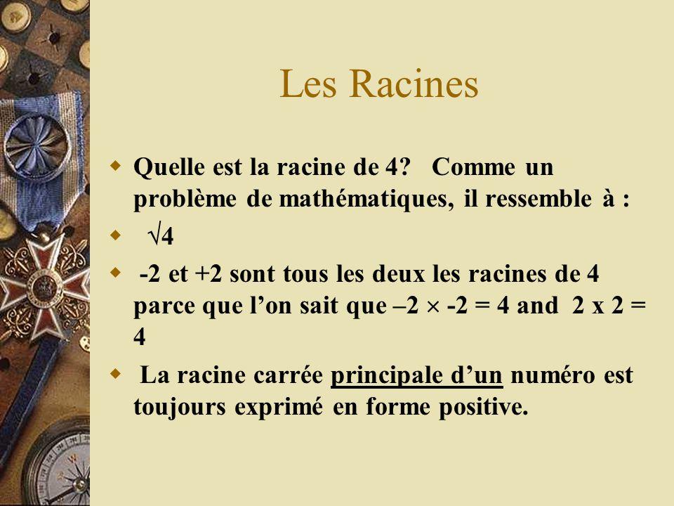 Les Racines Quelle est la racine de 4? Comme un problème de mathématiques, il ressemble à : 4 -2 et +2 sont tous les deux les racines de 4 parce que l