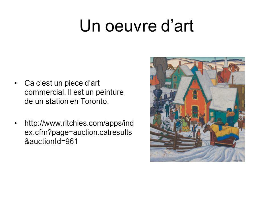 Un oeuvre dart Ca cest un piece dart commercial. Il est un peinture de un station en Toronto.