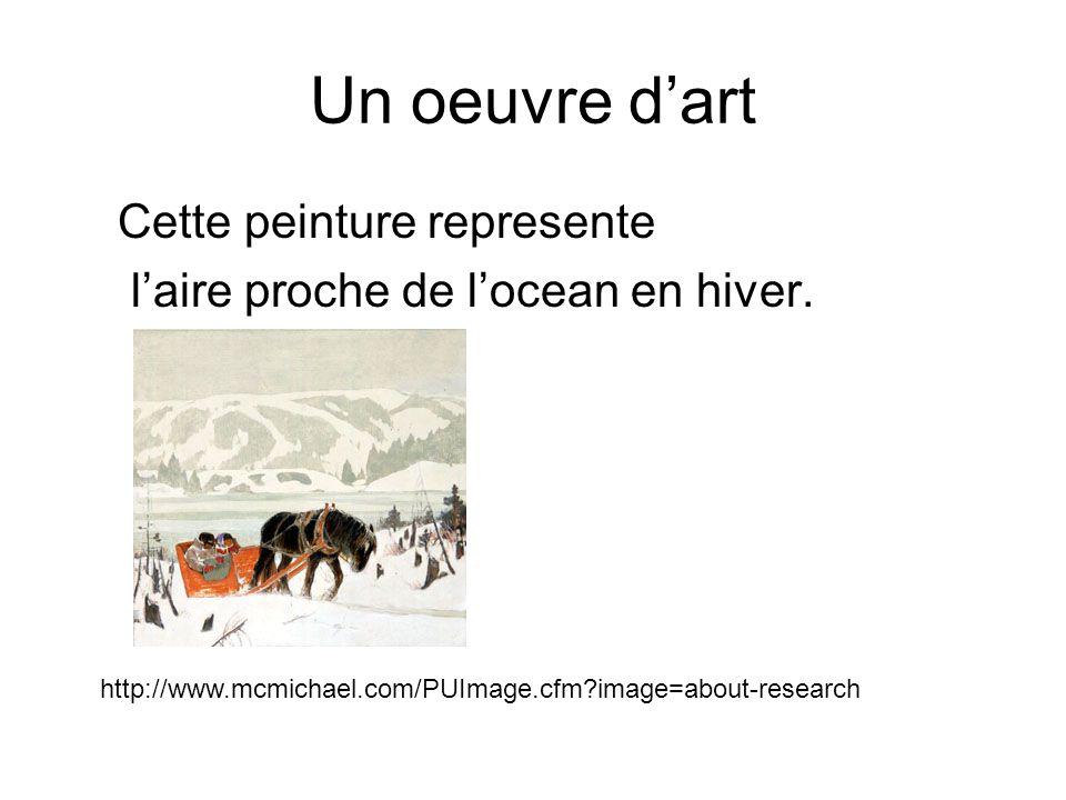 Un oeuvre dart Cette peinture represente laire proche de locean en hiver.