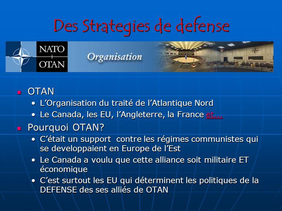 Des Strategies de defense OTAN OTAN LOrganisation du traité de lAtlantique NordLOrganisation du traité de lAtlantique Nord Le Canada, les EU, lAngleterre, la France et...Le Canada, les EU, lAngleterre, la France et...et...