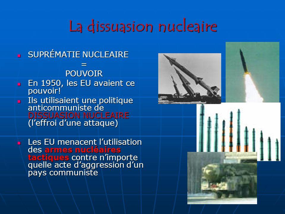 La dissuasion nucleaire SUPRÉMATIE NUCLEAIRE SUPRÉMATIE NUCLEAIRE=POUVOIR En 1950, les EU avaient ce pouvoir.