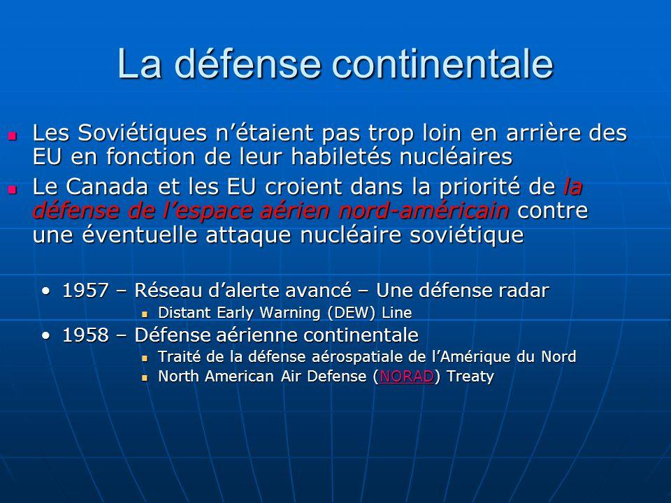 La défense continentale Les Soviétiques nétaient pas trop loin en arrière des EU en fonction de leur habiletés nucléaires Les Soviétiques nétaient pas trop loin en arrière des EU en fonction de leur habiletés nucléaires Le Canada et les EU croient dans la priorité de la défense de lespace aérien nord-américain contre une éventuelle attaque nucléaire soviétique Le Canada et les EU croient dans la priorité de la défense de lespace aérien nord-américain contre une éventuelle attaque nucléaire soviétique 1957 – Réseau dalerte avancé – Une défense radar1957 – Réseau dalerte avancé – Une défense radar Distant Early Warning (DEW) Line Distant Early Warning (DEW) Line 1958 – Défense aérienne continentale1958 – Défense aérienne continentale Traité de la défense aérospatiale de lAmérique du Nord Traité de la défense aérospatiale de lAmérique du Nord North American Air Defense (NORAD) Treaty North American Air Defense (NORAD) TreatyNORAD