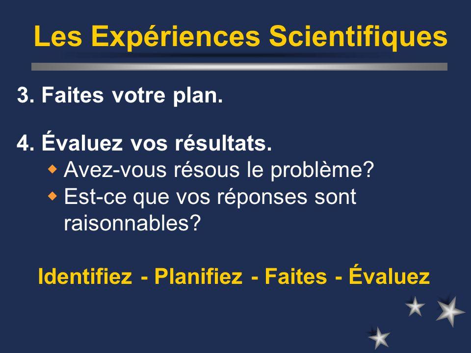 Les Expériences Scientifiques 3. Faites votre plan.