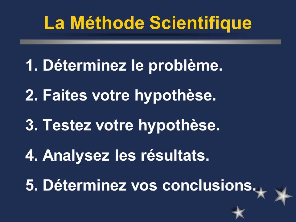 La Méthode Scientifique 1. Déterminez le problème.
