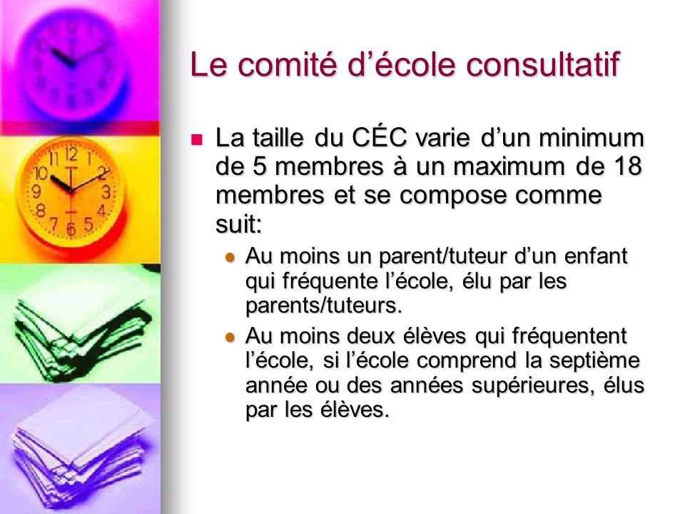 Le comité décole consultatif La taille du CÉC varie dun minimum de 5 membres à un maximum de 18 membres et se compose comme suit: La taille du CÉC varie dun minimum de 5 membres à un maximum de 18 membres et se compose comme suit: Au moins un parent/tuteur dun enfant qui fréquente lécole, élu par les parents/tuteurs.