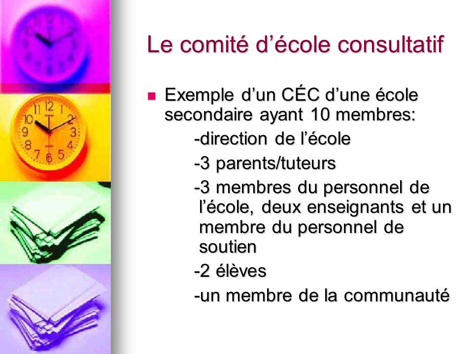 Le comité décole consultatif Exemple dun CÉC dune école secondaire ayant 10 membres: Exemple dun CÉC dune école secondaire ayant 10 membres: -direction de lécole -3 parents/tuteurs -3 membres du personnel de lécole, deux enseignants et un membre du personnel de soutien -2 élèves -un membre de la communauté