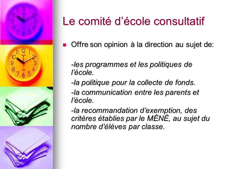 Le comité décole consultatif Offre son opinion à la direction au sujet de: Offre son opinion à la direction au sujet de: -les programmes et les politiques de lécole.