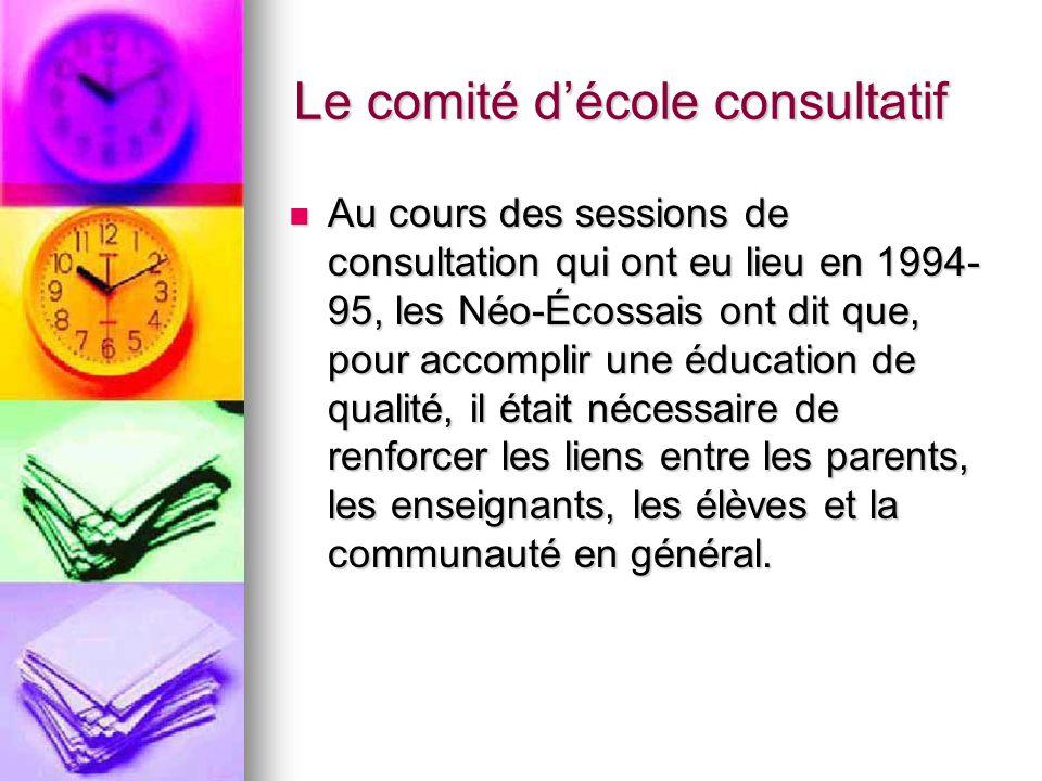 Le comité décole consultatif -le calendrier des réunions -les engagements du CÉC -les engagements du conseil scolaire -les engagements du MÉNÉ -les parties signataires