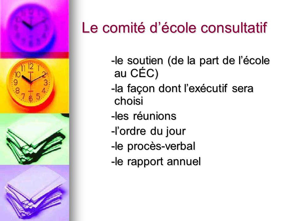 Le comité décole consultatif -le soutien (de la part de lécole au CÉC) -la façon dont lexécutif sera choisi -les réunions -lordre du jour -le procès-verbal -le rapport annuel